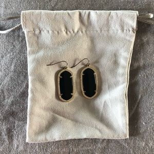 Elle Gold Drop Earrings In Black Opaque Glass
